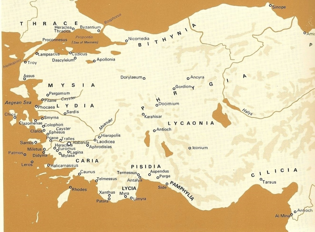 Map of Ancient Anatolia, depicted with land in shades of ivory with ocean in brown.
