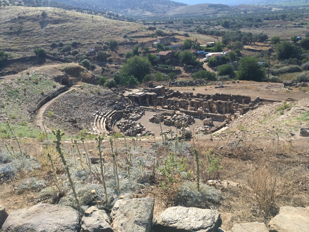 Image of the ruins of a Roman Theater in Alabanda. Photo taken from above with rocks and dried shrubs in the foreground. Semicircular stone structure with trees in the background in the middle of the image.